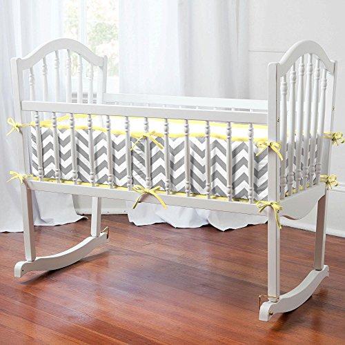 Carousel Designs Gray and Yellow Zig Zag Cradle Bumper