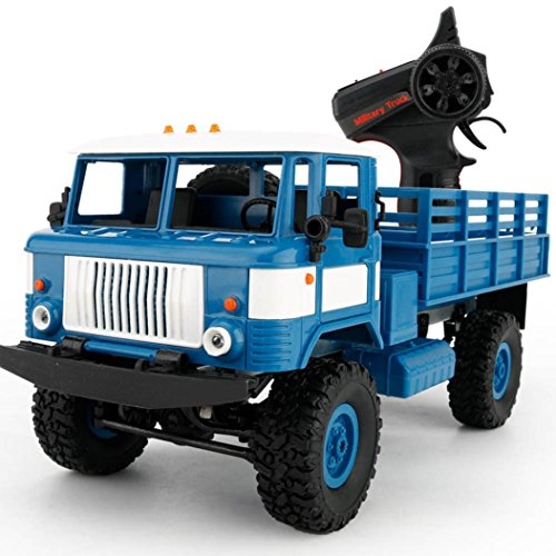For Christmas,Sunfei WPL B-24 1:16 4WD Large RC Military Truck Wireless Remote Control Car Toy (Blue)