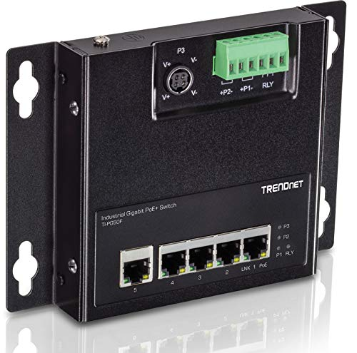 TRENDnet 5-Port Industrial Gigabit Poe+ Wall-Mounted Front Access Switch, 5X Gigabit Poe+ Ports, DIN-Rail Mount, 48 -57V DC Power Input, IP30, 120W Poe Budget,Lifetime Protection, TI-PG50F