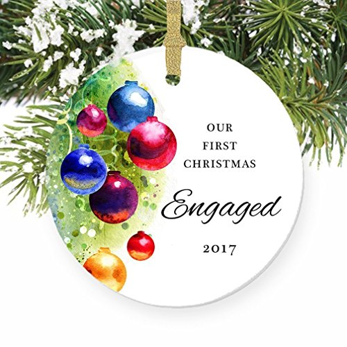 Colorful Engagement Ornament 2017, 1st Christmas Gifts for Engaged Couples, First Xmas Together Elegant Bride Groom Engagement Present Ceramic 3