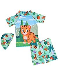 REWANGOING Baby Kids Boys Two Pieces Cartoon Cute Animal Tiger Print Short Sleeve Sun Protection Swimwear Swimsuit with Caps