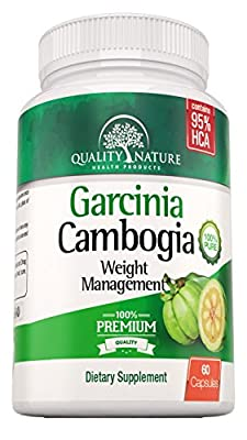 95% HCA Pure Garcinia Cambogia Extract - Extra Strength - Natural Weight Loss Supplements - Carb Blocker and Appetite Suppressant - All Natural Diet Pills for Women & Men - 60 Veggie Capsules - Premium Quality Ingredients Guarantee By Quality Nature