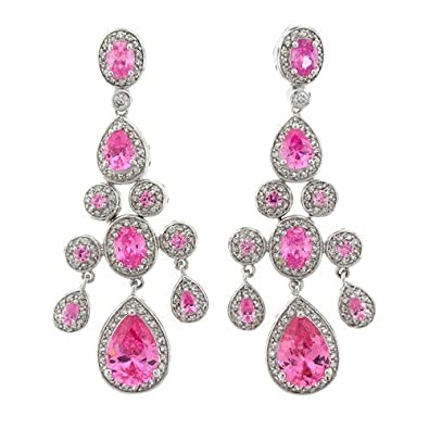 Amazon true chandelier earrings with pink topaz czs drop true chandelier earrings with pink topaz czs mozeypictures Gallery