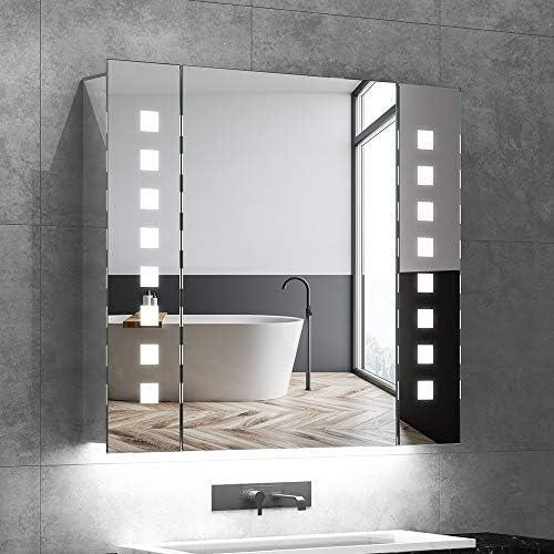 Quavikey LED Espejo de baño Mueble Espejo de baño Iluminado con Enchufe retroiluminado de la máquina de Afeitar desempañador Interruptor IR 65 x 60: Amazon.es: Hogar
