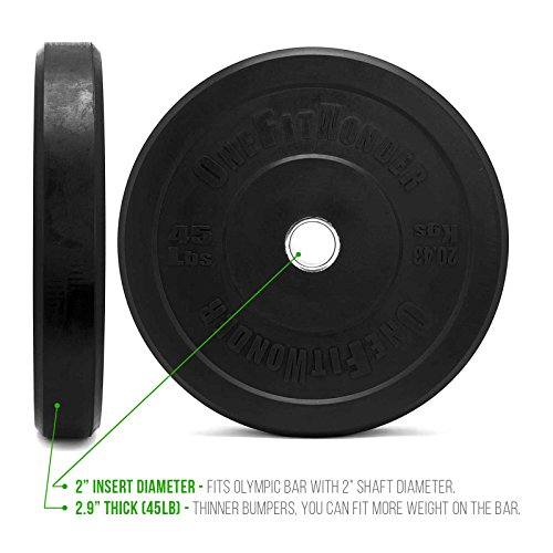 OneFitWonder 160 Lbs Bumper Plates Set/Virgin Rubber, Low Bounce, Odorless Premium Olympic Weight Plates for Crossfit Training/Weight Lifting/Home Gym By Sold in Pair of 10 lbs,25 lbs,45 lbs
