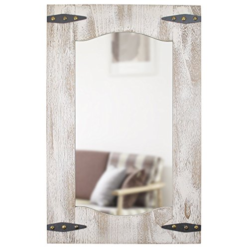 FirsTime 70000 Barn Door Mirror Wall Clock, Tan/Ivory Wood