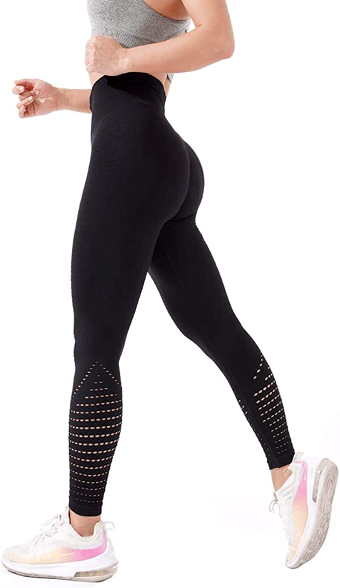 Women Hollow Out Yoga Fitness Leggings Workout Gym Push Up Sports Pants Trouser