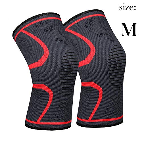 711TEK Compression Knee Sleeves - Best Knee Brace FDA Approved for Men & Women - Knee Support for Running and All Sports,Faster Injury Recovery(Red-M-2Pcs)- for Best FIT Check Sizing Chart