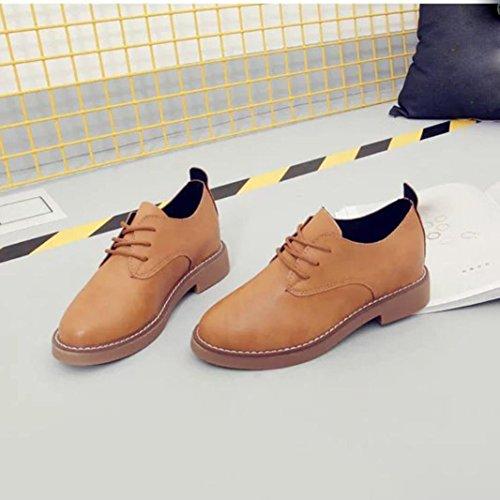 Zapatos de mujer, Ouneed ® Moda talón plano Casual de primavera las mujeres estudiante estilo encaje zapatos (EU 34, Negro)