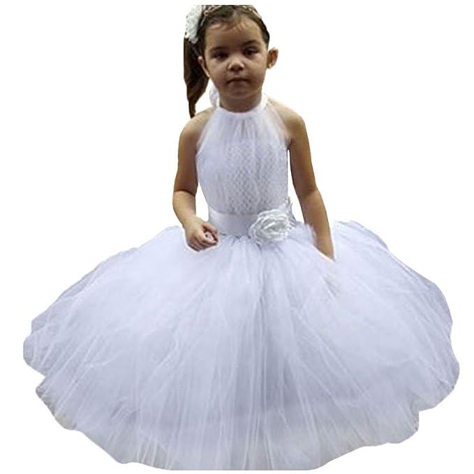 Free-Fisher Vestidos de noche sin mangas de la boda de las muchachas, Blanco