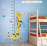 Kids Growth Height Chart Measure Rule Removable Vinyl Decal Sticker Wall Decor Giraffe&Monkey