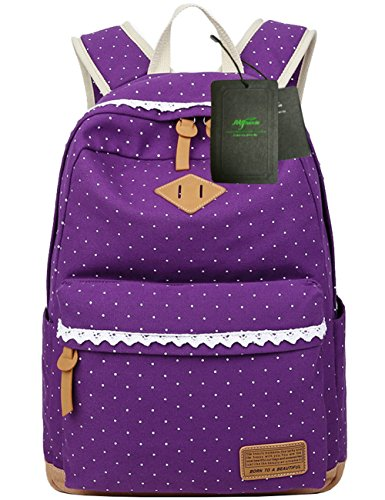 Mygreen Canvas School Backpack Bookbag