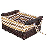 Rustic Style Woven Corn Leaf Storage Baskets, Double Handle Fabric Lined Bins, Brown