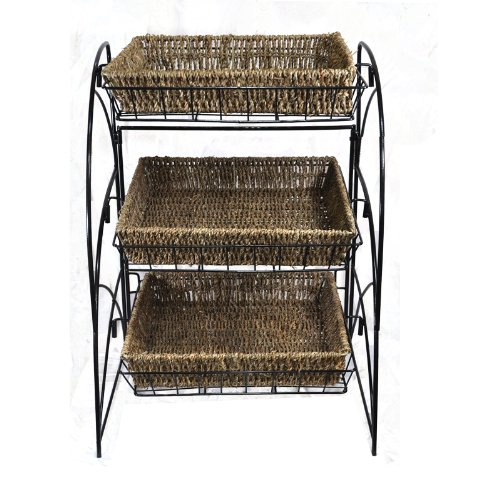 The Lucky Clover Trading Co. Tristan Triple Tiered Square Display with Handwoven Seagrass Basket, Natural