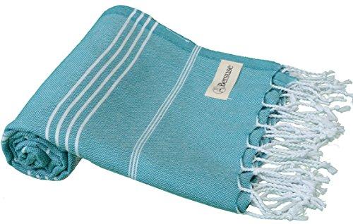 Bersuse 100% Cotton - Anatolia Turkish Towel - Bath Beach Fouta Peshtemal - Classic Striped Pestemal - 37X70 Inches, - Pique Waffle Robe