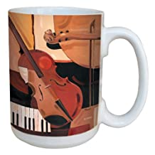 Tree-Free Greetings lm43400 Cool Abstract Violin by Paul Brent Ceramic Mug with Full-Sized Handle, 15-Ounce