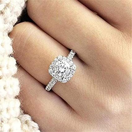 Opal Jewelry Halo Cushion Cut 18k White Gold White Sapphire Engagement Ring Jewelry Size 5 11 11