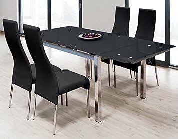 Momma Ensemble Table Extensible Avec 4 Chaises Tokyo Noir