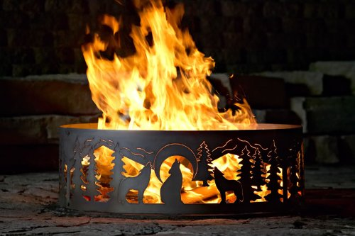 48 Inch Fire Ring - Wolves Steel Fire Pit