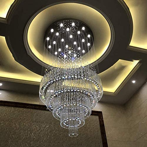 D39.3″ Modern Large Chandelier Doorway LED Ceiling Lamp Lighting K9 Crystal Raindrop Entrance Lighting Dimmable Fixture