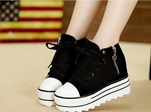 KHSKX-Muffin Thick Shoes Canvas Shoes The Increase In 10Cm Students Muffin Thick Soled Shoes High White. Thirty-six RJ1uP