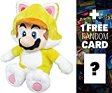 "Cat Mario: ~10"" Super Mario Bros Mini-Plush + 1 FREE Official Super Mario Bros Fun Card Bundle"