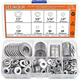SELIKOUR 270Pcs 8 Sizes Stainless Steel Flat Washers Assortment Kit, 1/2 3/8 5/16 1/4 12# 10# 8# 6#