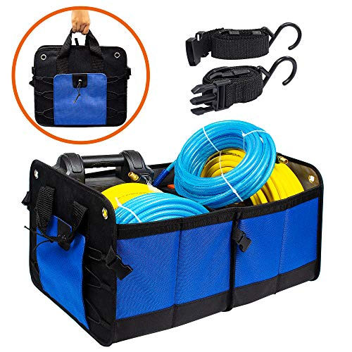 FIXSMITH-Car-Trunk-Organizer,Auto Trunk Organizer,Blue,Collapsible Cargo Storage Container,Multipurpose,Portable Grocery Storage Basket with Two Large Compartments for SUV,Truck,Minivan,Home & Office ()
