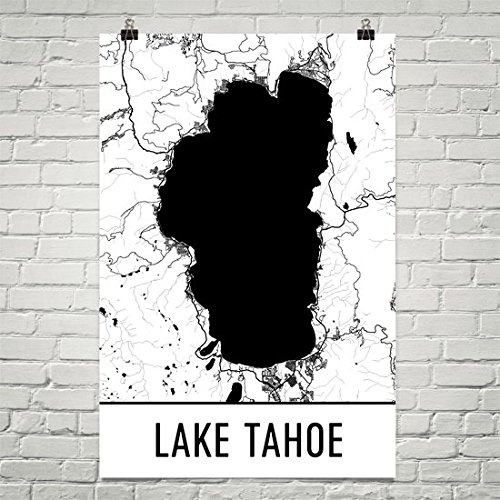 Lake Tahoe Poster, Lake Tahoe Art Print, Lake Tahoe Wall Art, Lake Tahoe Map,