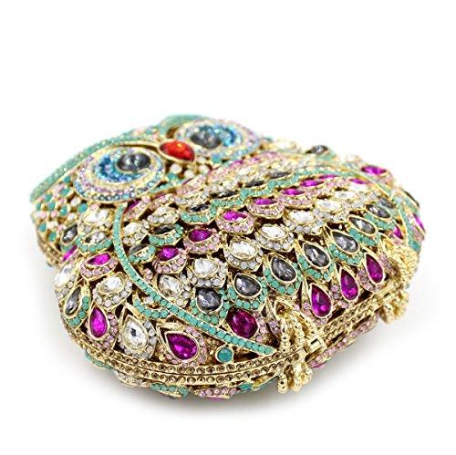 Los embragues de noche señoras bolso Lechuza cena de lujo conchas de colores noche Saco bordado