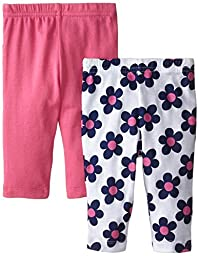 Gerber Baby-Girls Pants, Pink/Flowers, 0-3 Months (Pack of 2)