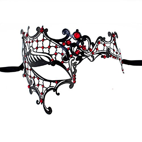 ShineBlue Masquerade Mask Filigree Metal Eyemask with Rhinesones for Women Costume Masked Ball Fancy Party 7 (Black & Red) - Black And Red Masquerade Mask
