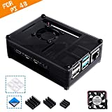 Smraza Compatible with Raspberry Pi 4 Case, Acrylic Case with Cooling Fan, Heatsinks for Raspberry Pi 4 Model B (RPI 4 Board Not Included) - Black