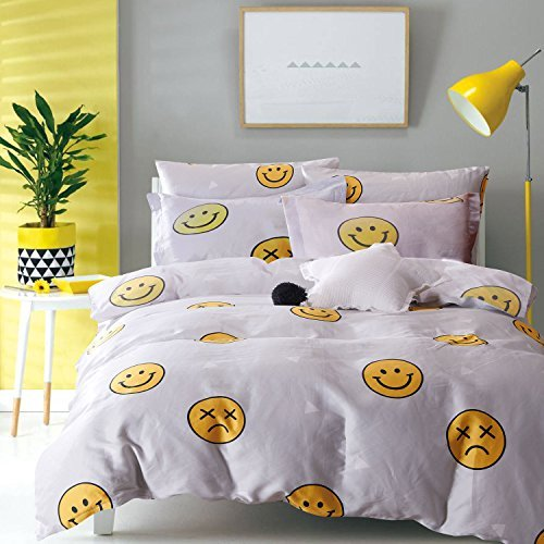 Wake In Cloud Emoji Duvet Cover Set, 100% Cotton Bedding for Kids Teens Boys Girls Children, Yellow Faces Pattern Printed on Gray Grey with Zipper Closure (3pcs, King Size)