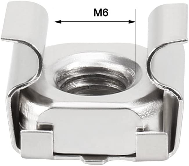 uxcell 55 Pack M6 Cage Nut Carbon Steel Nickel Plated for Server Shelf Cabinet