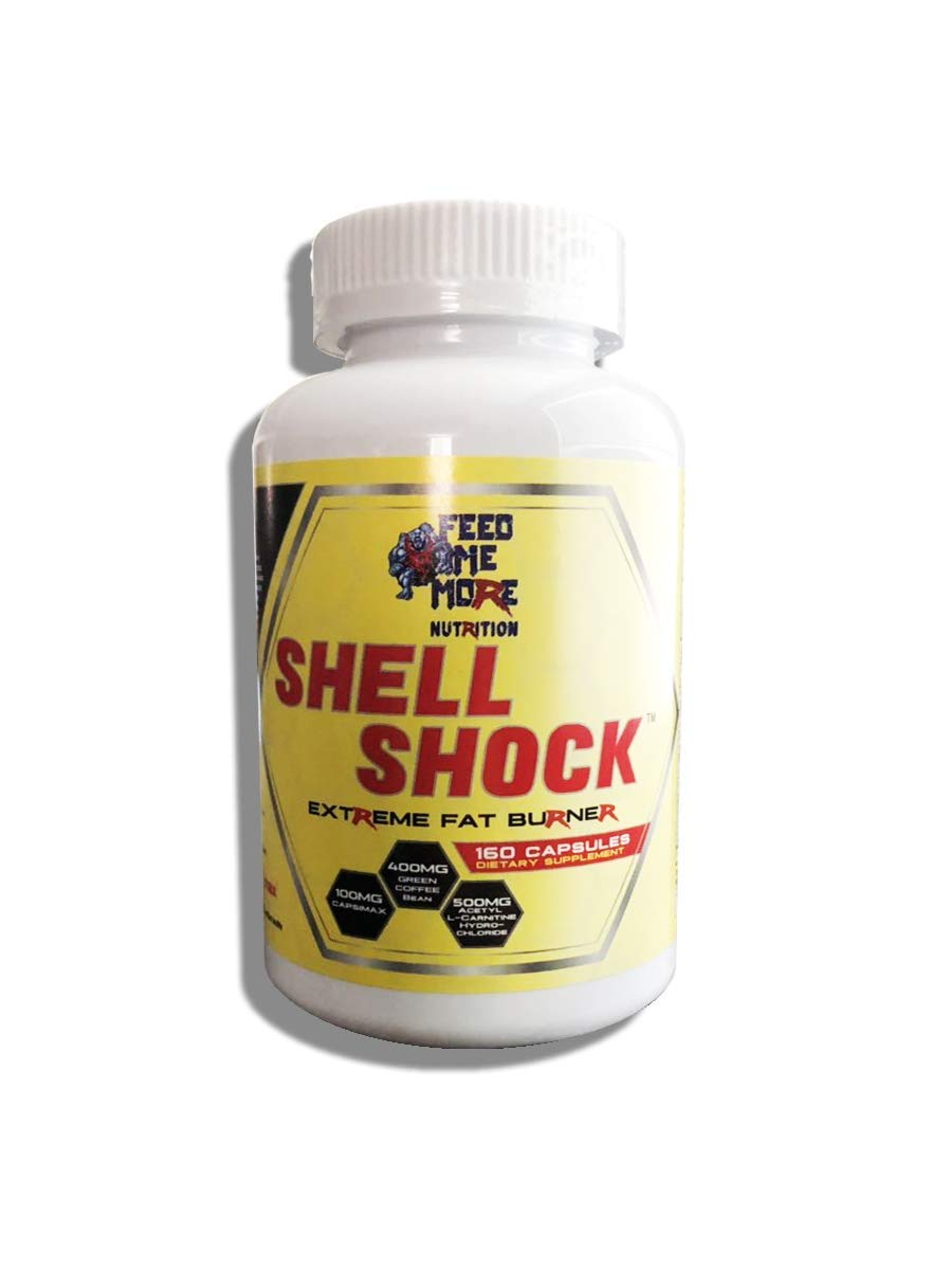 Shell Shock Extreme Fat Burner #1 All Natural Fat Burner with Apple Cider Vinegar, Capsimax, Green Tea, Green Coffee Bean, L-Carnitine, Açaí Berry 30 Servings by Feed Me More