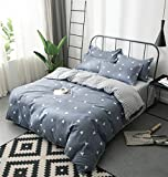 3pc Duvet Cover Set, Ultra Soft Microfiber Reversible Duvet Cover Bedding Set with Zippered Closure & Two Matching Shams Triangle &Stripes Design ,Hotel Quality & Hypoallergenic