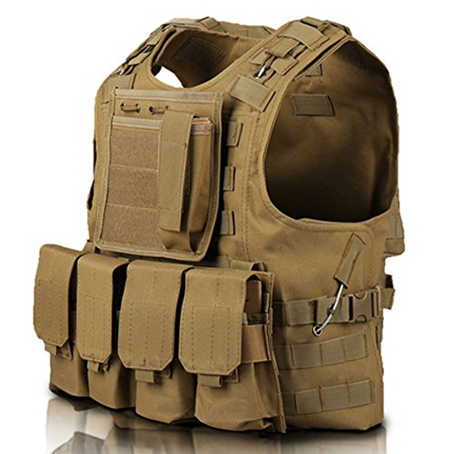 Price comparison product image WalkingMan Tactical Airsoft Paintball Combat Military Swat Assault Army Hunting Outdoor Molle Vest (Yellown)