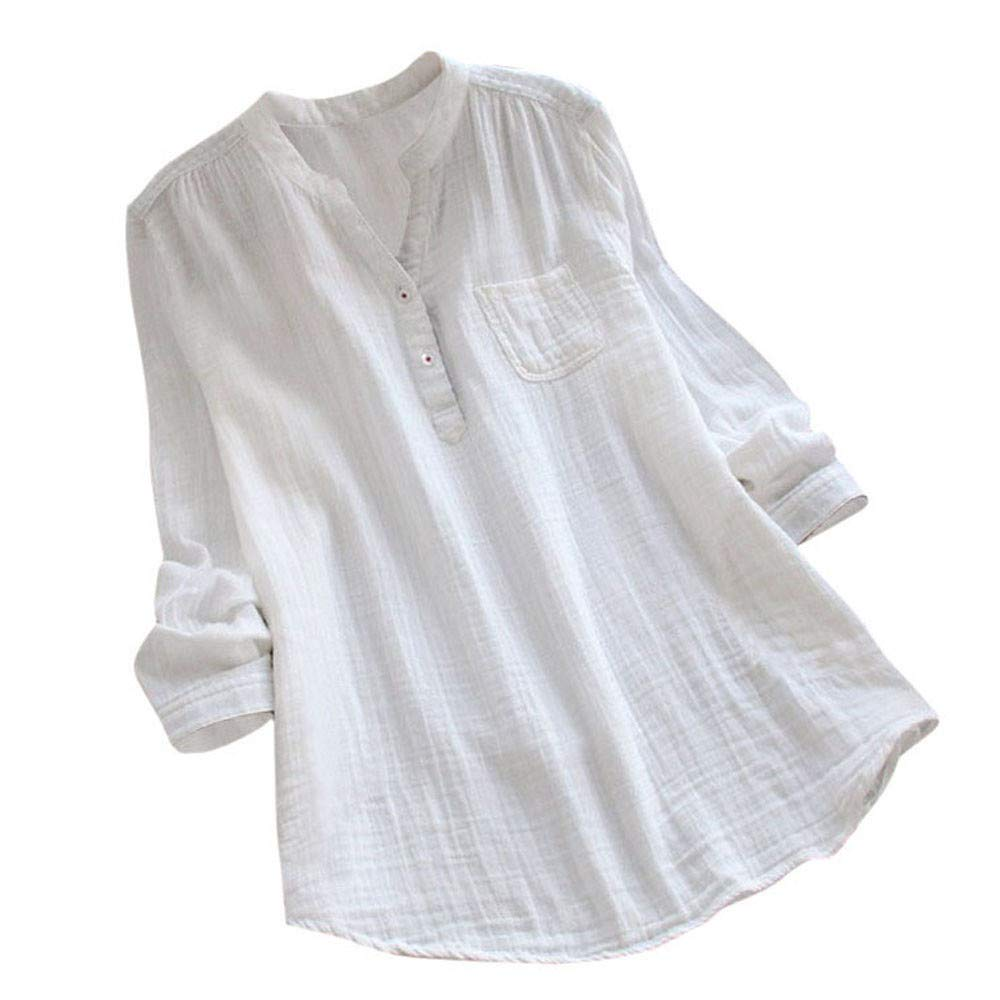 iQKA Women Linen Shirt V-Neck Long Sleeve Plus Size Casual Loose Henley Tops Blouse(White,X-Large)