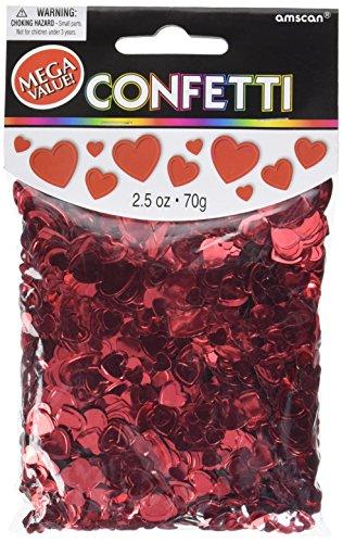Amscan Metallic Hearts Confetti, 2.5 oz, Red -