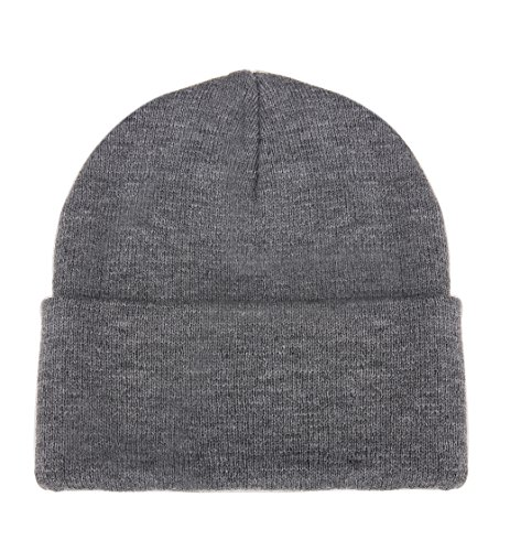 Luxina Winter Warm Chunky Soft Stretch Cable Knit Hat Daily Slouchy Beanie Hats Skull Cap Grey