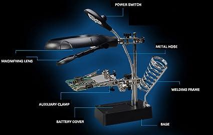 Lupa de la lámpara del escritorio, mantenimiento del reloj de la placa base, banco de trabajo auxiliar de la abrazadera del PDA, tipo multifuncional del ...