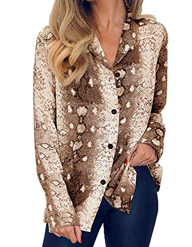 Womens Tops Long Sleeve V Neck Button Up Snake Skin Pattern Blouse Chiffon Shirts Brown