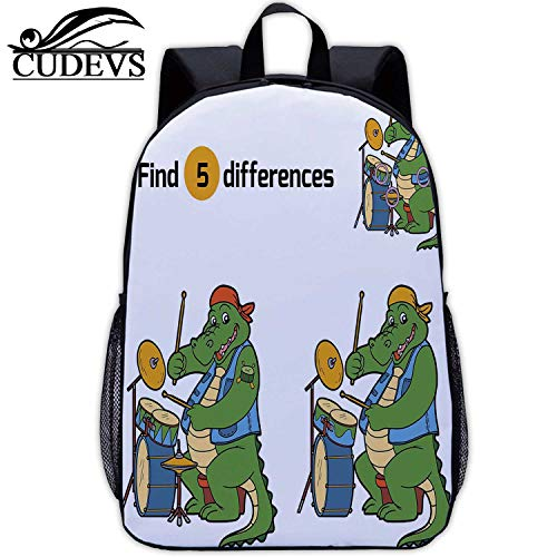 Find Differences,Girl Bag,Game for Children Crocodile and Drum,Vintage,17in12.2 Lx5.5 Wx17 H