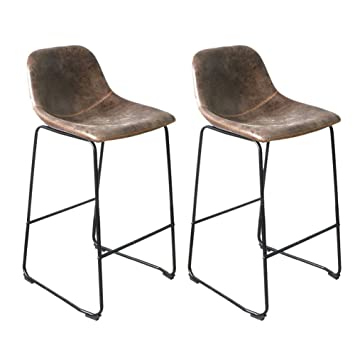 Incredible Unho Bar Stools Set Of 2 Rustic Vintage Retro Metal Leather Industrial Style Seating Cafe With High Back Sunken Seat For Breakfast Bar Stool Kitchen Inzonedesignstudio Interior Chair Design Inzonedesignstudiocom