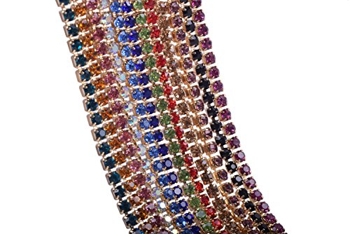"KAOYOO Crystal Rhinestone Close Chain Mixed 12 Colors Each 1 Yard.SS06/2.0mm/0.08"",Golden Chain with Rainbow Rhinestone"