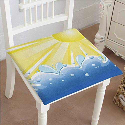 Mikihome Outdoor Chair Cushion Sun Vector of Shining Sun Over The Sea Theme Print Yellow and Blue Comfortable, Indoor, Dining Living Room, Kitchen, Office, Den, Washable ()