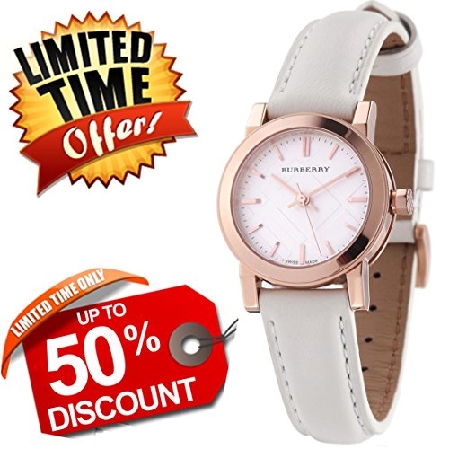 Burberry The City SWISS LUXURY Round Rose Gold White Leather Band 26mm Silver Dial Women Watch BU9209
