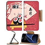 Luxlady Premium Samsung Galaxy S7 Flip Pu Leather Wallet Case IMAGE ID: 35994301 Sushi on a tray with chopsticks on a background of a fan with a picture of spring landscape with