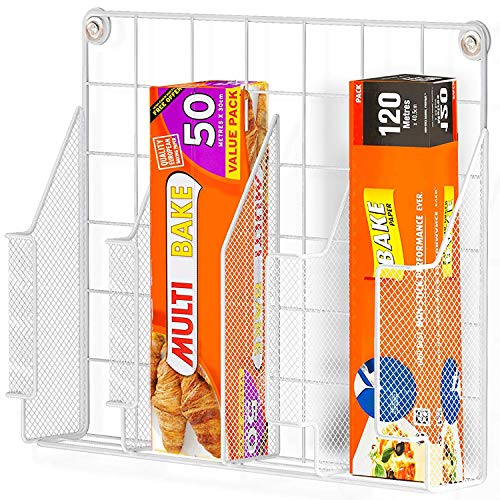 Home Intuition Wall Mount Kitchen Wrap Organizer Rack, White